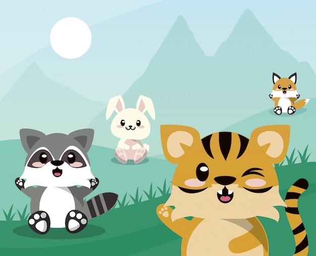 Grupo de animales lindos en escena del paisaje