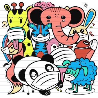 Grupo de animales lindos con máscaras médicas para prevenir enfermedades, gripe, virus corona. ilustración del virus de la corona de wuhan. ilustración de neumonía covid-19.