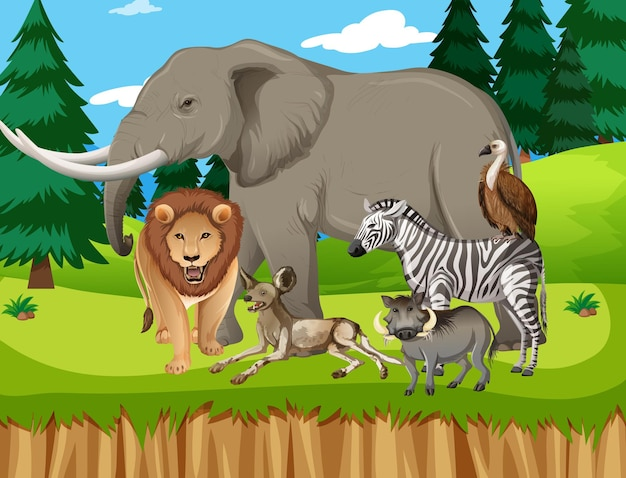 Grupo de animales salvajes africanos en la escena del bosque.