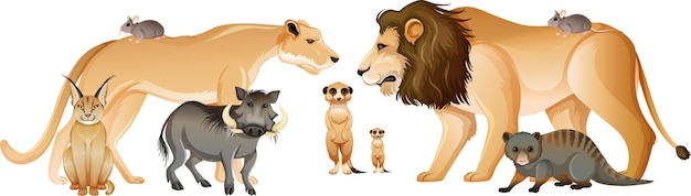 Grupo de animales salvajes africanos