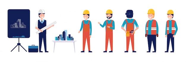 Un grupo de arquitectos y planificación de ingeniería civil de construcción ilustración vectorial