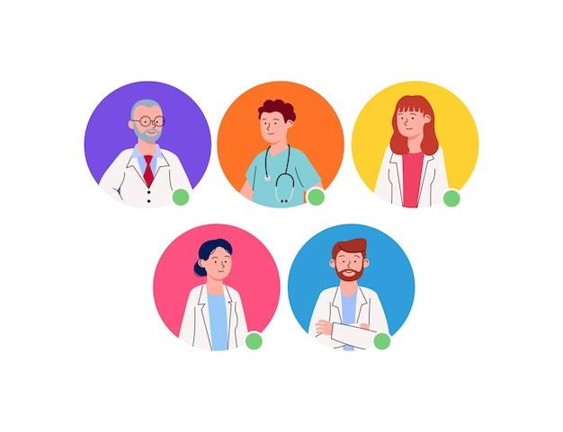 Grupo, de, avatar, perfil, doctor, caricatura