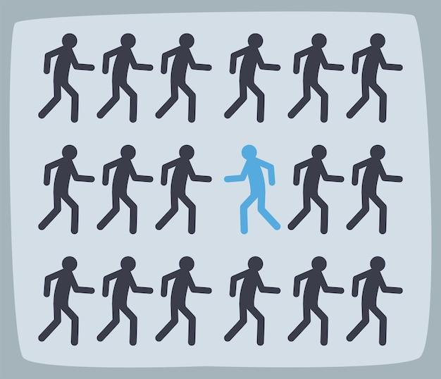 Grupo de avatares en diferentes posiciones.