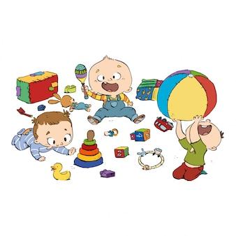 Grupo de bebés jugando en la guardería.