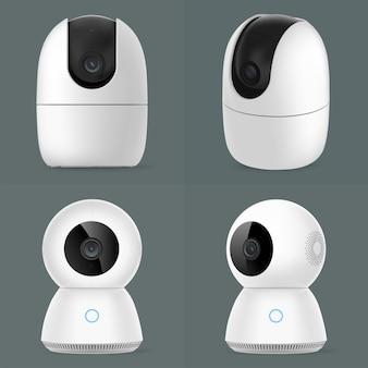 Grupo de cámaras de seguridad de cctv inteligente aislado