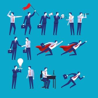 Grupo de catorce hombres de negocios trabajadores avatares personajes ilustración