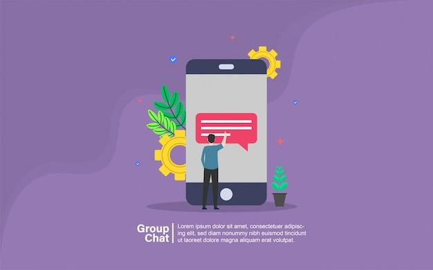 Grupo de chat con banner de personajes de personas.