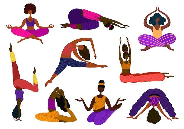 Grupo de chicas afroamericanas hacen set de yoga.