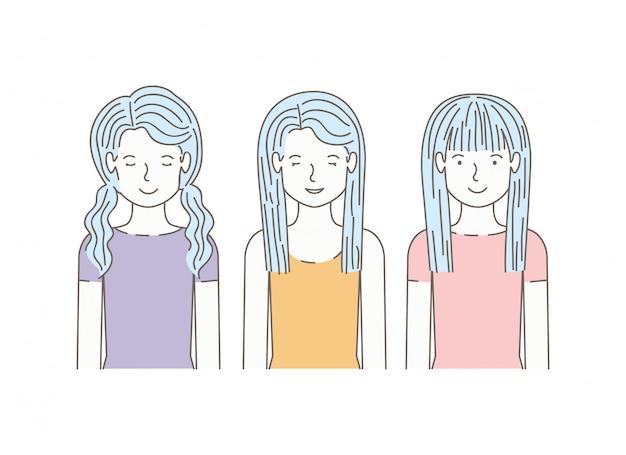 Grupo de chicas avatares personajes
