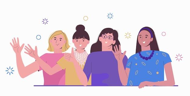 Grupo de chicas jóvenes felices. conocer mujeres. amistad colaboración y espíritu de equipo. unidad de amigos.