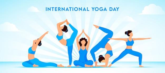 Grupo de chicas jóvenes haciendo yoga en diferentes poses sobre fondo de rayos azules para el concepto del día internacional del yoga.