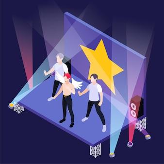 Grupo de chicos de k pop en el escenario con focos e ilustración isométrica de estrella dorada