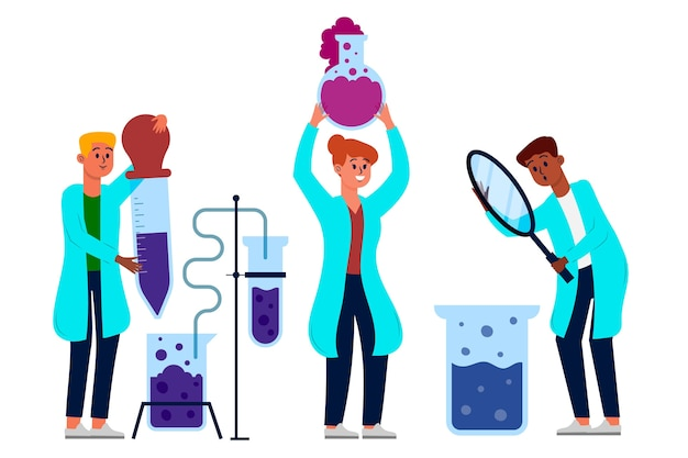 Grupo de científicos trabajando en laboratorio