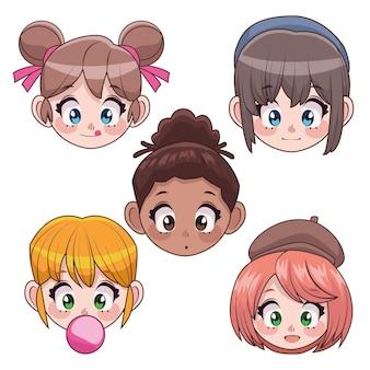Grupo de cinco adolescentes interraciales chicas anime cabezas personajes ilustración