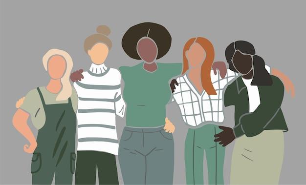 Grupo de cinco amigas con diferentes tonos de piel y colores de cabello, varios tipos de cuerpo.