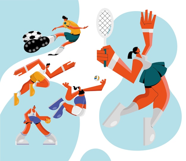 Grupo de cinco atletas practicando deportes, diseño de ilustraciones de personajes