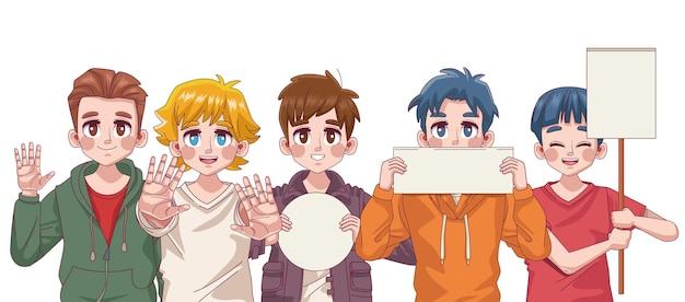 Grupo de cinco personajes de anime de manga de adolescentes de chicos jóvenes lindos con ilustración de pancartas de protesta