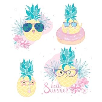 Grupo de cinco piñas con diferentes estilos de gafas de sol