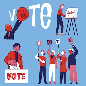 Grupo de ciudadanos de personas votan en las elecciones