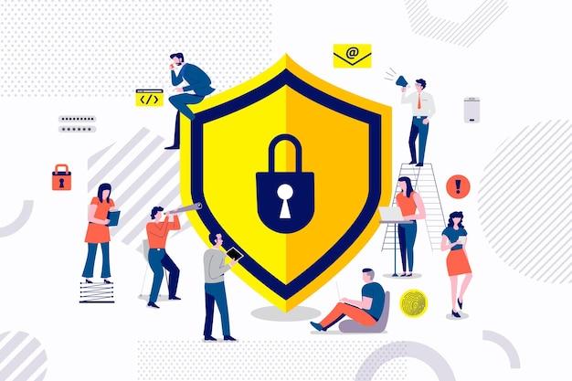 Grupo de concepto de diseño plano de empresario que trabaja para la solución de seguridad de archivo