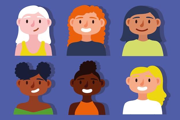 Grupo de concepto de inclusión de chicas interraciales