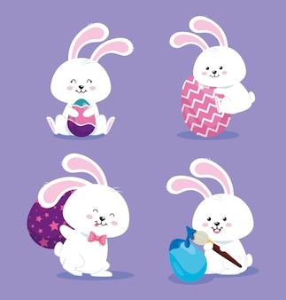 Grupo de conejos con huevos decorados, diseño de ilustraciones vectoriales