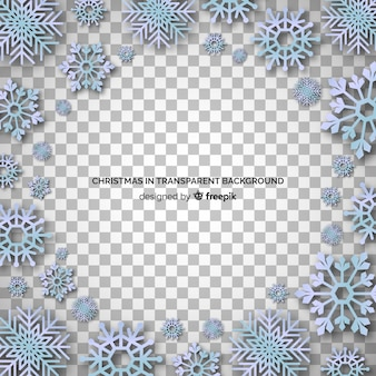Grupo de copos de nieve adornos fondo transparente