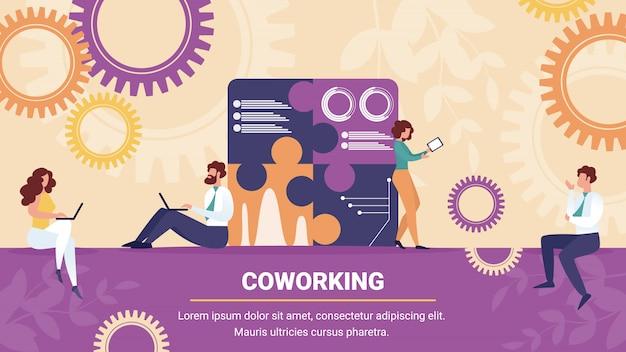 Grupo de coworking empresarios y empresarias