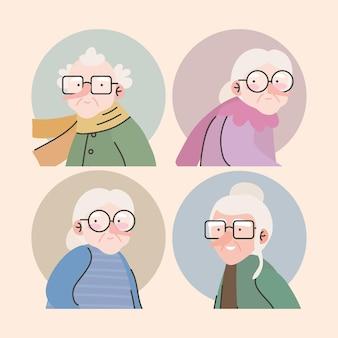 Grupo de cuatro abuelos avatares personajes, diseño de ilustraciones vectoriales