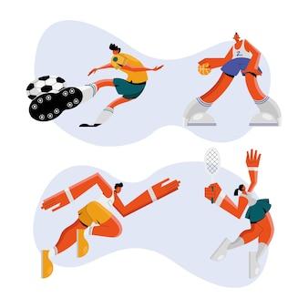 Grupo de cuatro atletas practicando deportes, diseño de ilustraciones de personajes
