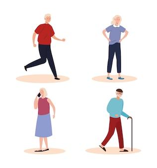 Grupo de cuatro personajes ancianos ancianos.