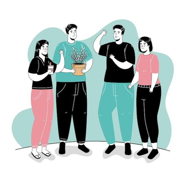 Grupo de cuatro personas realizando actividades personajes de avatares.