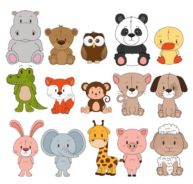 Grupo de animales pequeños y lindos