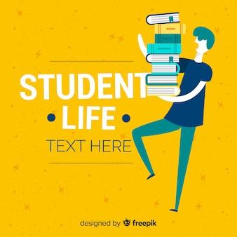 Grupo de estudiantes felices con diseño plano