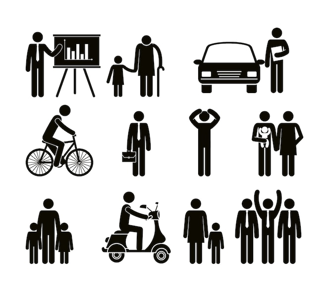 Grupo de personas que realizan diferentes actividades