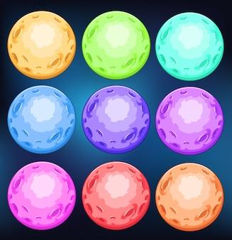 Grupo de planetas coloridos