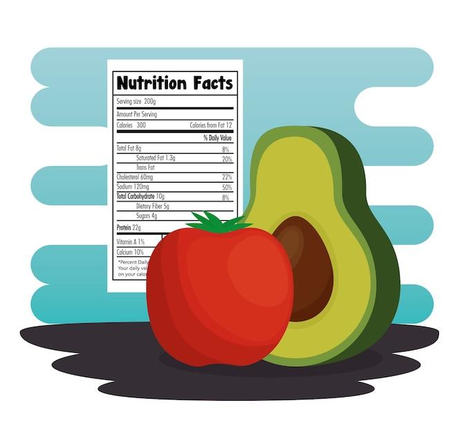 Grupo de verduras con información nutricional