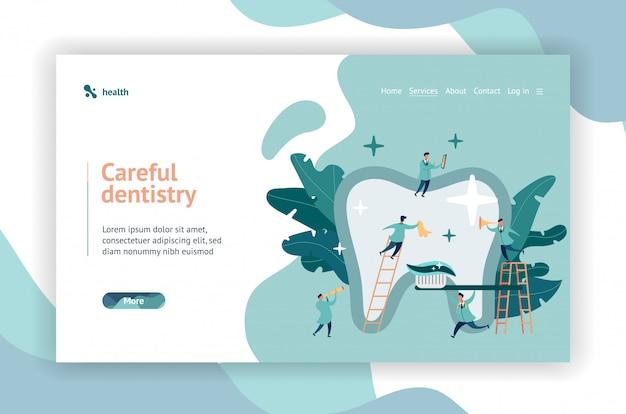Grupo de dentistas pequeños que cuidan la página web de dientes grandes