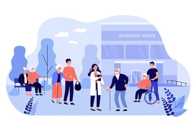 Grupo de dibujos animados de personajes ancianos caminando con cuidadores