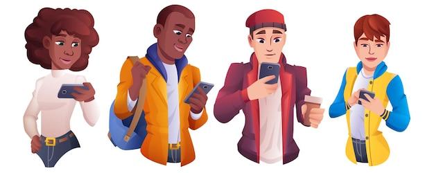 Grupo de dibujos animados de personas con smartphone. hombres y mujeres de diferentes nacionalidades con teléfono móvil y charlando, escribiendo mensajes. personajes jóvenes que buscan gadgets. concepto de comunicación online.