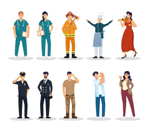Grupo de diez personajes de avatares de profesiones de trabajadores.