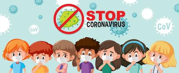 Grupo de diferentes adolescentes con máscara con el logotipo de detener el coronavirus.