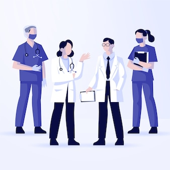 Grupo de diferentes doctores ilustrados