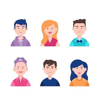 Grupo de diferentes personas y caras.