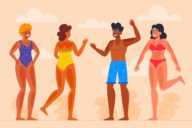 Grupo de diferentes personas con una quemadura de sol.