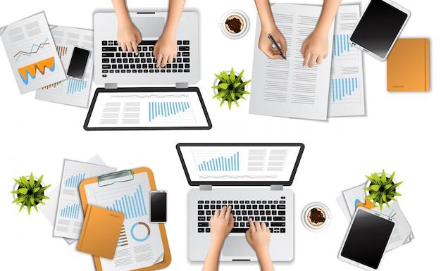Grupo discutir para trabajo en equipo reunión concepto ilustración vista superior con laptop, portapapeles, inmóvil.