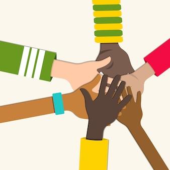 Un grupo diverso de personas tocando las manos ilustración