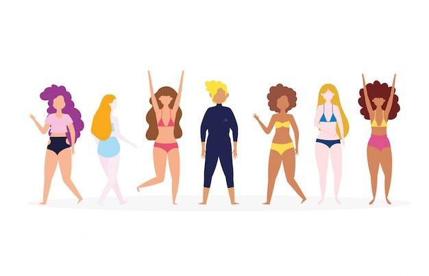 Grupo diverso de personas en trajes de baño personajes de dibujos animados