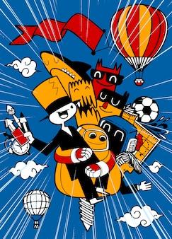 Un grupo de divertidos personajes de dibujos animados vuelan de regreso a la escuela