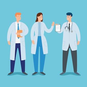 Grupo de doctores personajes avatar
